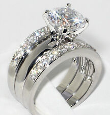 3.37 Ct. Round CZ Solitaire Bridal Engagement Wedding 3 Piece Ring Set - SIZE 6