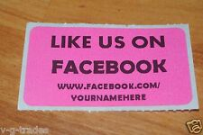 LOT OF 200 PINK LIKE US ON FACEBOOK CUSTOM YOURNAMEHERE Shipping Stickers 2X1