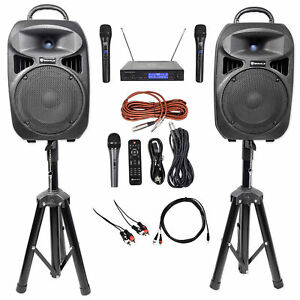 "Rockville Dual 8"" Phone/ipad/Laptop Youtube Karaoke Machine/System+Wireless Mics"
