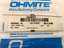 (25 pcs) 607HR005 Ohmite, 3/4 Watt 0.005 Ohm 3%, Current Sense Resistor (Axial)