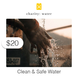 $20 Charitable Donation For: Clean & Safe Water