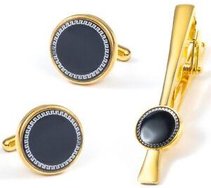 GOLD BLACK CUFF LINKS TIE CLIP PIN SET GROOM WEDDING FAVOUR BOX GIFT NEW UK GL15