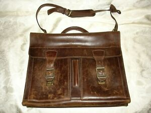 Leather Men's Brown Handbag Messenger Satchel Laptop Handbag