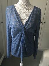 Ladies Blue Lace Top With Under Vest Top Size 24