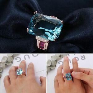 Engagement Gemstone Topaz Size 6-10 10.4CT Aquamarine Ring Rose Gold Filled