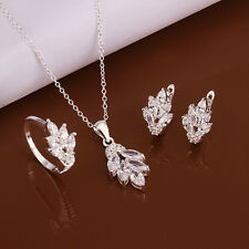 Sterling solid silver fashion Crystal flower necklace&earrings&ring sets LDSS618