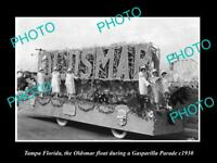 OLD LARGE HISTORIC PHOTO OF TAMPA FLORIDA, THE OLDSMAR PARADE FLOAT c1930