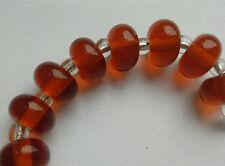 8 Handmade Clear Lampwork Perles, Ambre foncé. 10 mm. Fabrication de Bijoux et Artisanat
