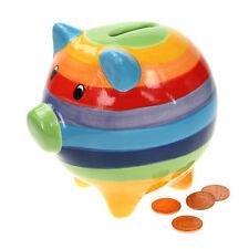 WINDHORSE Rainbow Striped Piggy Bank 13cm Ceramic Money Box - Hand Painted - NEW