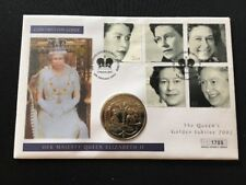 2002 Bailiwick Q Elizabeth II Golden Jubilee Cover with Jersey Five Pound Coin