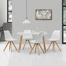 [en.casa] Esstisch mit 4 Stühlen weiß Lack 120x70cm Tisch Essgruppe Stühle