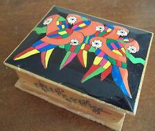 MACAWS PARROTS handmade hand PAINTED WOOD trinket jewelry gift BOX birds