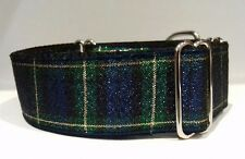 "Martingale Dog Collar TARTAN Metallic 1.5"" Wide Greyhound Lurcher Saluki 14""-20"""