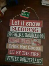 "Let it Snow 10""x11"" Rustic Xmas Signs Hanging Winter Wonderland Wall Wood Decor"