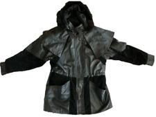 Veste 3/4 manteau femme Cuir / Daim avec capuche  t  50 52 L  comme neuve
