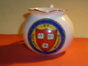 WH GOSS Emblematic England Crested China Cream Jug. Crest of Harvard College