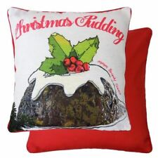 """EVANS LICHFIELD CHRISTMAS PUDDING FILLED CHENILLE COTTON RED BROWN CUSHION 17"""""""
