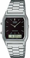 Casio AQ-230A-1D Casio Silver & Black Dual Time Watch AU