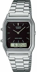 Casio AQ-230A-1D Casio Silver & Black Dual Time Watch AU
