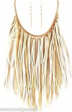 Fringes Suede Women's Necklace & Earrings Set White Gold Plated Long Bib