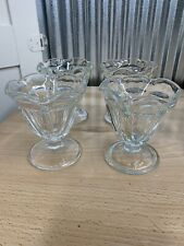 Vintage Pressed Glass Fluted Ice Cream Sundae Dessert Cups Clear Footed Lot K