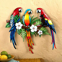 Set of 3 Colorful Tropical Parrots Metal Trio Wall Art Sculpture Indoor/Outdoor