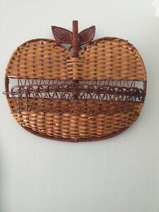 Vintage Woven Wicker Apple Letter Tidy Wall Art Hanging