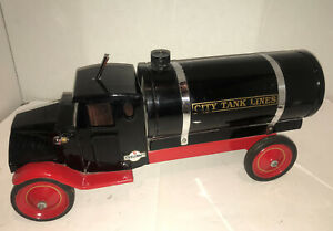 VTG 1920s Custom Sit-n-Ride Steelcraft Mack Oil Tanker Truck Pressed Steel Toy