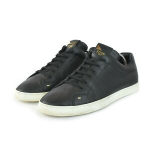 Mens Fendi 7E1075 Lace-Up Sneakers Shoes Black Leather Italy Size US10 / 44