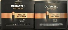 Duracell OPTIMUM Extra Power Extra Life AA12 + AAA12  batteries NEW