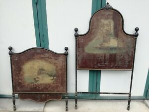 Antique Bed Single Of 1800 IN Iron Hand Painted Nineteenth Century