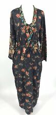 Ivy & Annabelle Intimates Black Nightgown & Peignoir S Red Floral Japanese FLAW