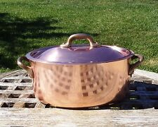 """Copper 8"""" Oval Cocotte w/Tin lining & Bronze handles, 1.7 mm, Made in France"""