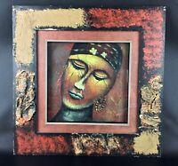 Vintage tableau africain ethnique encadrement sous verre - bel objet en visu