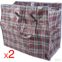 2X SHOPPING BAG 40X35X20 QUALITY WOVEN PVC PLASTIC LAUNDRY STORAGE BAGS WITH ZIP