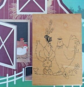 Spring Chickens Wood Mount Rubber Stamp Barn Farm Life Anniversary Inky Antics