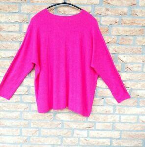 ITALY Damen Pullover Gr. XL - 2XL Strick Langarm Warm Weich Pink Neuw.