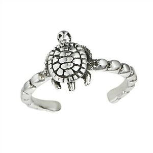 Sterling silver toe ring TURTLE open adjustable
