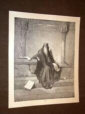 Incisione di Gustave Dorè del 1880 Bibbia Salomone Bible Engraving