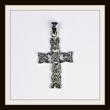 STERLING SILVER CELTIC CROSS KNOT PENDANT ~ FREE FAST P&P