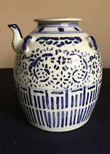 Chinese Wedding Teapot Blue White Porcelain Double Happiness Circle Mark 03426