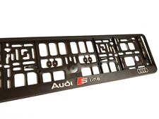 Black 3D AUDI S LINE European Euro License Number Plate Holder Frame German EU