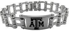 TEXAS A&M UNIVERSITY AGGIES * Stainless Steel Bike Chain Bracelet w/Logo * NCAA