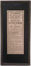 Antique Medical Quackery Framed Poster Advertisement, 1800's Botanic System Rare