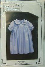 Girl's Smocked Dress w/ Front Pleating Sewing Pattern Sz 3 Mo. - 4 Uc