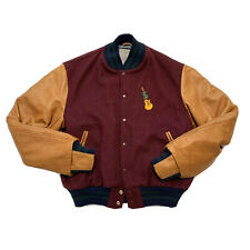 Golden Bear Wool Leather Varsity Jacket, Mens Large, Burgundy Brown, Sweetwater