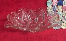 "Vintage Large 10"" Cut Crystal Candy Serving Dish Diamond Starburst Design Ruffle"