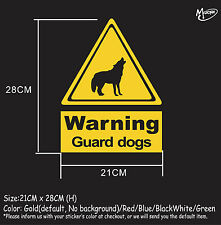 Guard dogs warning sign stickers reflective countryside farm animal decal