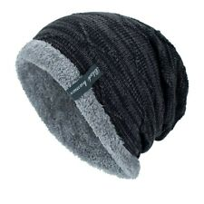 Winter Knit Beanie Slouchy Cap Hat Striped Men's Toboggan Ribbed Warm Soft Work