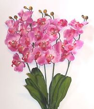 5 Stems of Orchid silk flowers 20 flowers Pink